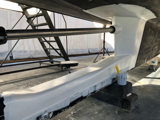 epoxy glasswork around hull and keel